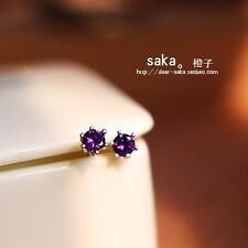 New 925 Sterling silver earrings 4MM purple crystal earrings Beautiful jewelry