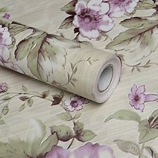 Vintage Cream/purple Flower Wallpaper Roll decor Contact Paper Peel Stick Vinyl.