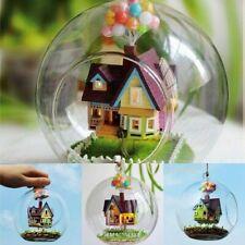 3D DIY Miniature Glass Ball Dollhouse LED Sound Control Light Doll House Kit New