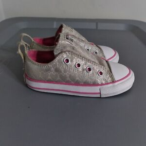 Converse All Star Chuck Taylor Toddler Girls Size 7 Shoes Gray Strap Sneakers