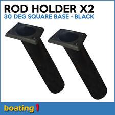 2 x ROD HOLDERS Plastic Rod Holder Flush Mount 30 Deg Square Base Black