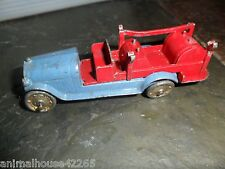 RARE BLUE & RED VINTAGE FIRE TRUCK DIECAST METAL TOY TRUCK