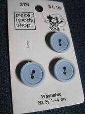 ANT/VTG PIECE GOODS SHOP PARTIAL CARD POWDER BLUE LUCITE/PLASTIC BUTTONS QTY 3