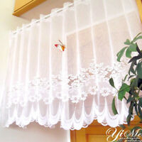 Lace Sheer Window Cafe Curtain Rod Pocket Floral Room Kitchen Valance Home Decor