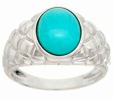 OVAL SLEEPING BEAUTY TURQUOISE STERLING SILVER BAND RING SIZE 7 QVC $89.00