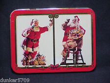 ONE COCA COLA PLAYING CARD METAL TIN FEATURING 2 SANTAS -NO CARDS INCLUDED #2