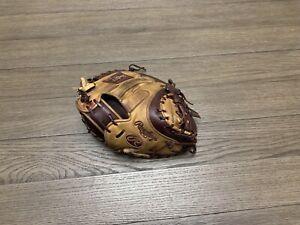 "Rawlings Heart of the Hide 34"" Catchers Mitt Baseball Glove Tan Maroon"