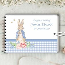 Personalised Guest Book Peter Rabbit Blue Naming Birthday Baptism Baby Shower