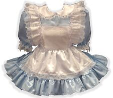 """Alice"" CUSTOM Fit Satin Adult Little Girl Sissy Dress with Pinafore LEANNE"