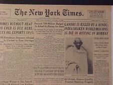 VINTAGE NEWSPAPER HEADLINE ~GANDHI DIES INDIA KILLED HINDU MURDER GUN SHOT DEAD~