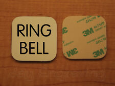 Engraved 3x3 RING BELL Plastic Tag Sign Plate   Beige Doorbell Plate Plaque
