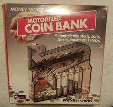 Vintage 1989 Money Factory Magnif Motorized Coin Bank Change Sorter open box