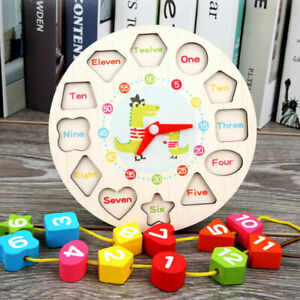 Children Kids Wooden Clock Shape Toys Early Learning Number Educational Puzzle