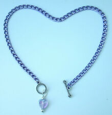 """custom anklet with Ab heart pendant Violet aluminum chain Nickel Free 10"""" or"""