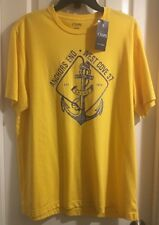 NWT CHAPS Crew S/S Graphic Men's Large Yellow Anchors End Ships Free