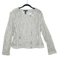 INC Women's Night Bouquet Sheer Gray Lace Moto Full Zip Jacket Large