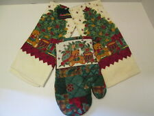 Christmas Tree Design Kitchen Towels and Oven Mitt, NEW