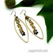 Gold Drop Earrings With Green Jade, Tear Drop Jadeite Earrings, Bohemian Ethnic