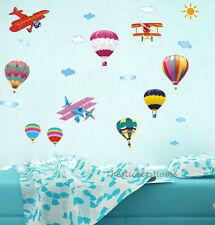 Large 30 PCs HOT AIR BALLOON & PLANES Wall Stickers Baby Boy Girl Nursery Decor