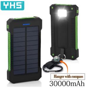 POWER BANK 30,000mAH Waterproof Solar Charger DUAL USB External Charger