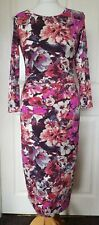 Stunning Reiss 'Zizzi' Pink Floral Bodycon Dress Size XS 6-8 RRP £165