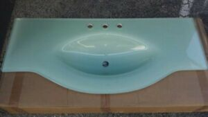 Suneli 48 Frosted Glass Countertop Wash Basin Bathroom Sink Vanity Umberto
