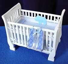 COT DRESSED in BLUE, BUMPER& NAPPY BAG 12th