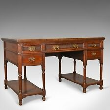Antique Open Pedestal Desk, English Walnut, W Walker and Sons, London Circa 1870