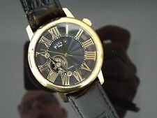 Gents Rotary Gold Plated Automatic Skeleton Watch on Strap. Ex Display Model.