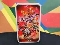 1970s Vintage OId Floral Vase Print India Sweets Corner Rectangular Tin Box