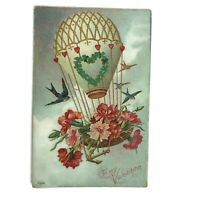 Vintage 1911 To My Valentine Postcard Hot Air Balloon Birds Embossed Germany