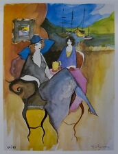 Itzchak Tarkay SOMBER MOMENT Signed Limited Edition Original Lithograph Art