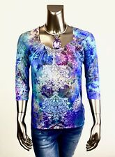 CHICO'S *NEW 1(M) MULTI FLORAL PLEAT-NECK 3/4 SLEEVES TOP