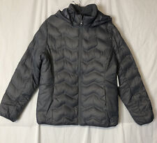 Time and True Women's Gray Bubble Puffer Jacket Removable Hood Size L NEW