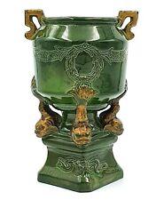More details for art nouveau green japanese style vase with gargoyle koi fish design - vgc - 5