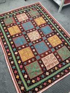 "Vtg Handmade Pakistan Applic Patch Work Quilt Rilli Bedspread Coverlet 58"" X 80"""