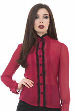 Hip Length Polyester Ruffle Tops & Shirts for Women