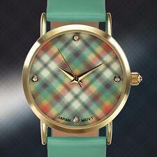 Ladies Rousseau Watch, Green Plaid, Warranty, Swarorvski Crystals