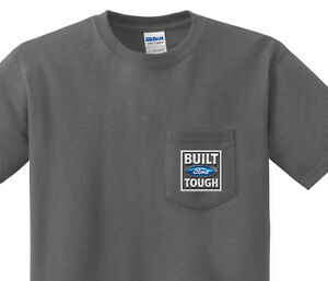 Pocket t-shirt men's Built Ford Tough pocket tee mens dark gray shirt