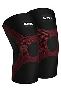 Mava Knee Compression Sleeves Support Brace Running Jogging Pair-XXL Black/Red