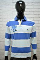 Polo Blu Uomo TOMMY HILFIGER Taglia S Camicia Maglia Manica Lunga Shirt Man