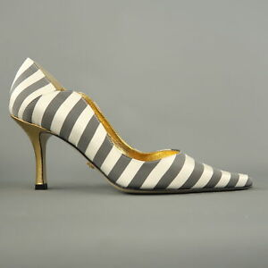 NICOLE MILLER ESTELLE Size 7 White & Gray Striped Satin Gold Heels Pumps