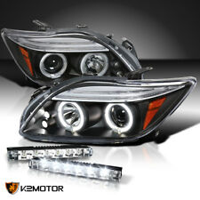 05-10 Scion tC LED Halo Projector Headlights Black Pair+6-LED Bumper DRL