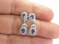 Fine Gem Tanzanite Diamond White Gold Drop Earrings 1.52CT 1""