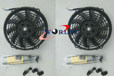 "2 x 10"" 10 inch 12V Slim Electirc Radiator Cooling Thermo Fan & Mounting kit"