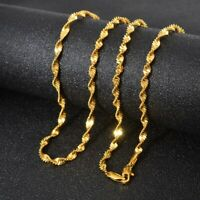 "18k Yellow Gold Mens Womens 24"" Necklace Opulent Wave Snake Link Chain + GiftPkg"