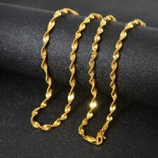 """18k Yellow Gold Mens Womens 24"""" Necklace Opulent Wave Snake Link Chain W Giftpkg"""