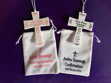 Personalised Communion or Confirmation Cross & Drawstring White Velvet Bag Gift