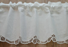 """70"""" White French Country Battenburg Lace Kitchen Cafe Window Curtain Valance"""
