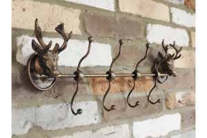 4 x Stag Style Metal Coat Hooks   50 cm Wide